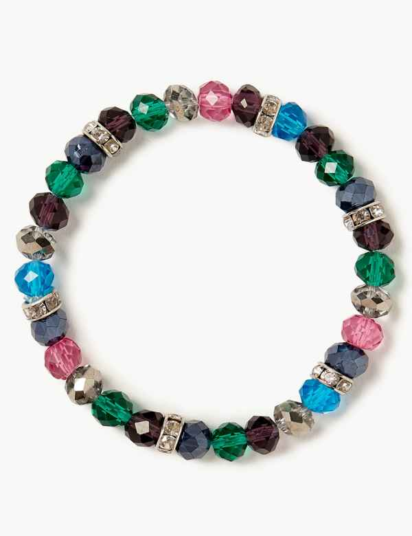 Bronze And Multi Coloured Gem Elasticated Bracelet Delicious In Taste Fashion Jewelry Jewelry & Watches
