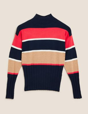 Knitted Striped Funnel Neck Fitted Jumper