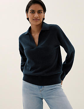 Collared Relaxed Jumper with Wool