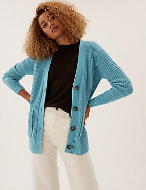 Cotton Textured Ribbed Longline Cardigan