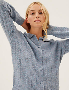 Textured Collared Button Front Cardigan