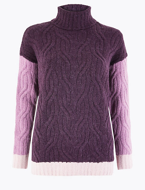 Cable Knit Colour Block Roll Neck Jumper