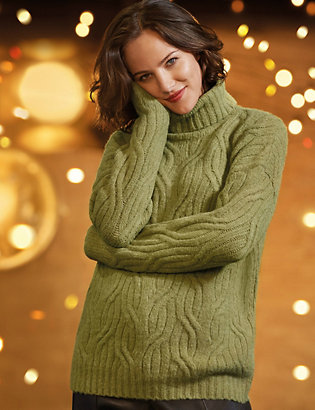 Cable Knit Roll Neck Jumper With Alpaca by 35 Days To Return
