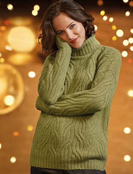 Cable Knit Roll Neck Jumper with Alpaca