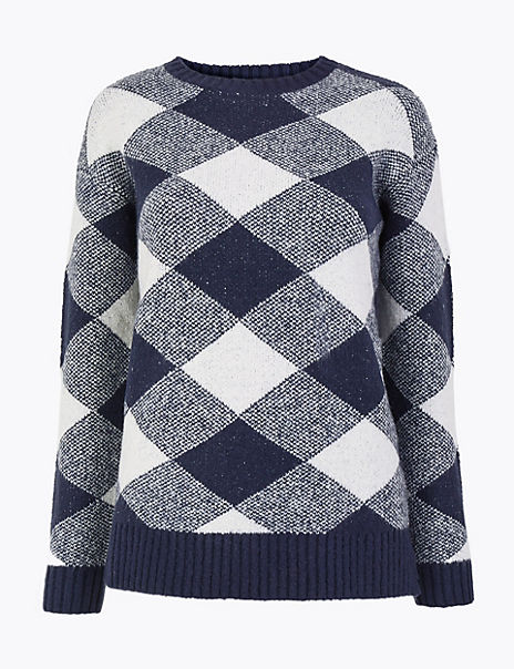 Checked Relaxed Fit Jumper