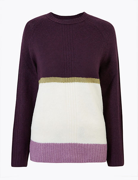Cosy Colour Block Relaxed Fit Jumper