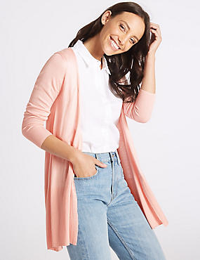 Open Front Ribbed Cardigan , BUBBLEGUM, catlanding