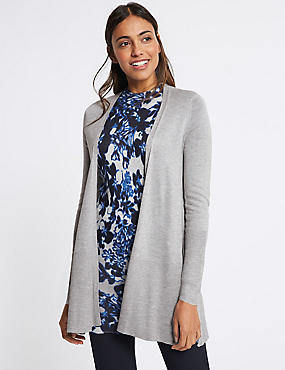 Open Front Ribbed Longline Cardigan grey marl Marks and Spencer