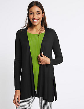 Open Front Ribbed Cardigan , BLACK, catlanding