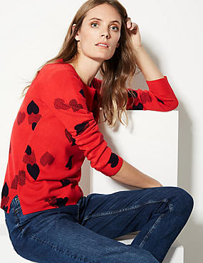 Heart Print Round Neck Jumper , RED MIX, catlanding
