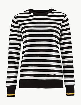 Striped Round Neck Jumper , BLACK MIX, catlanding