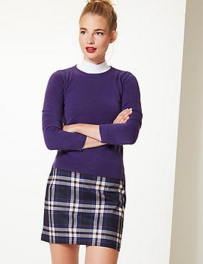 Round Neck Long Sleeve Jumper, PURPLE, catlanding