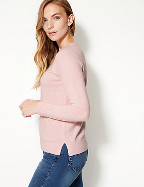 Round Neck Long Sleeve Jumper, PALE PINK, catlanding