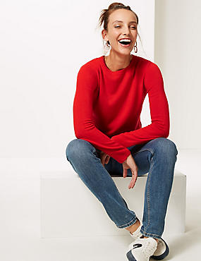 Round Neck Long Sleeve Jumper, CHILLI, catlanding