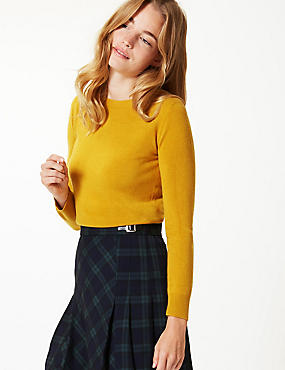 Round Neck Long Sleeve Jumper, OCHRE, catlanding