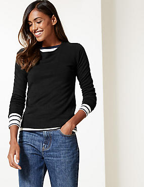Round Neck Long Sleeve Jumper, BLACK, catlanding