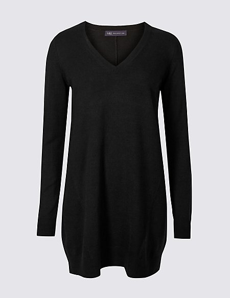 Textured V-Neck Tunic Jumper
