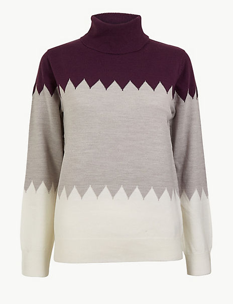 Cashmilon™ Colour Block Roll Neck Jumper