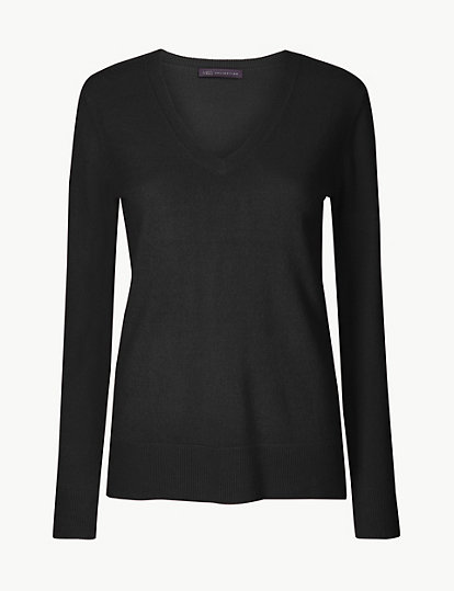 SIZE 6 8 10 12 14 16 M/&S LADIES WOMENS COMFY HIGH QUALITY V NECK Jumpers
