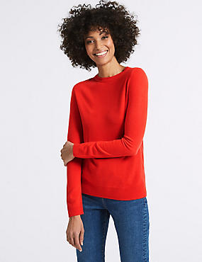 Round Neck Jumper, POPPY, catlanding