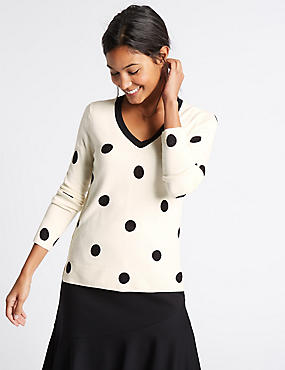 Dotted V-Neck Jumper, CREAM, catlanding