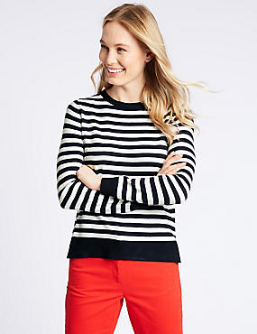 Striped Round Neck Long Sleeve Jumper , NAVY MIX, catlanding