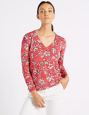 Floral Print V-Neck Long Sleeve jumper