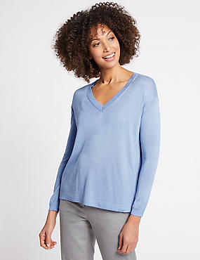 V-Neck Jumper , PALE BLUE, catlanding