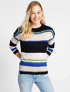 Striped Round Neck Jumper , BLACK MIX, catlanding