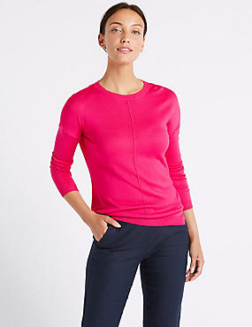 Lightweight Round Neck Jumper, BRIGHT PINK, catlanding