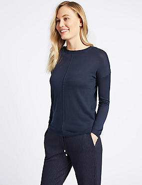 Lightweight Round Neck Jumper, NAVY, catlanding