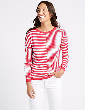 Striped Centre Seam Round Neck Jumper , BRIGHT PINK MIX, catlanding