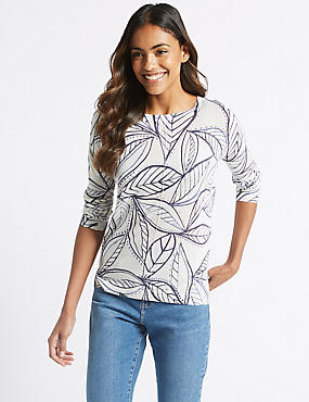 Leaf Print Centre Seam Round Neck Jumper , WHITE MIX, catlanding