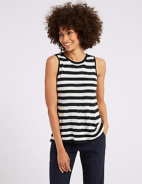 Striped Swing Tank Round Neck Jumper, NAVY MIX, catlanding