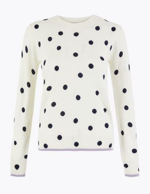 Cashmilon™ Polka Dot Round Neck Jumper by Marks & Spencer
