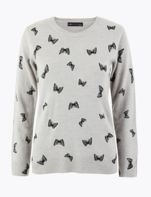 Butterfly Print Jumper by Marks & Spencer