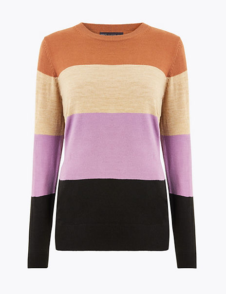 Cashmilion™ Colour Block Striped Jumper