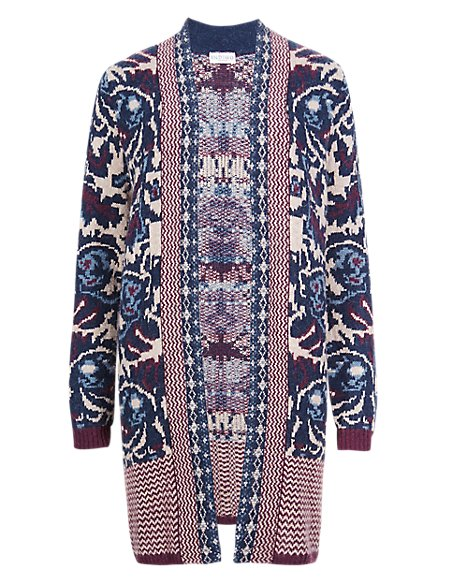 Open Front Jacquard Floral Cardigan