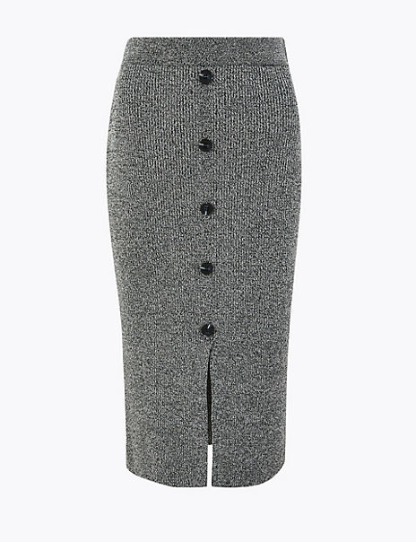 Button Detailed Pencil Skirt