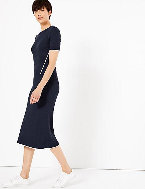 Linen Blend Fit & Flare Skirt