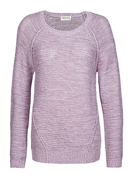 Pure Cotton Horizontal Reverse Knit Jumper
