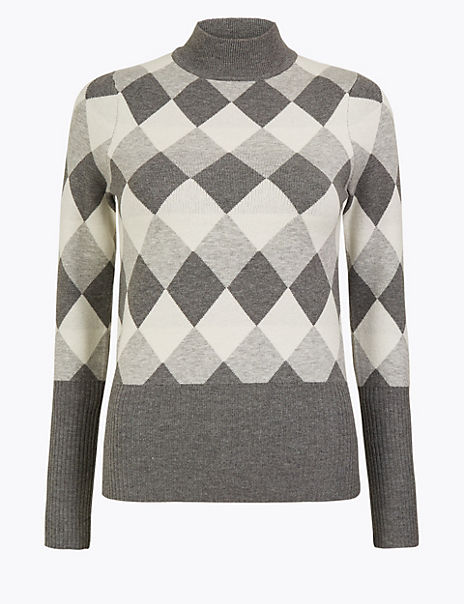 Diamond Argyle Fitted Jumper