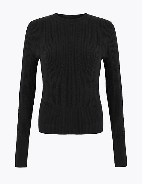 Soft Touch Cable Knit Round Neck Jumper
