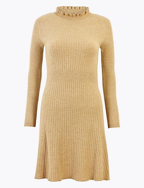 Ruffle Knitted Mini Dress