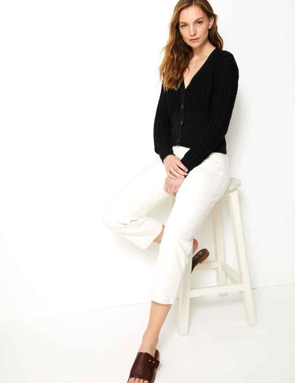 79e02e261a1 Cotton Rich Textured V-Neck Cardigan