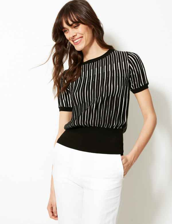 b0bdff9cafc Striped Round Neck Short Sleeve Knitted Top