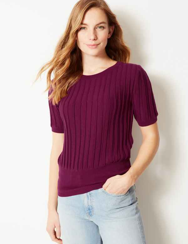 eb03d7f556519c Textured Round Neck Knitted Top