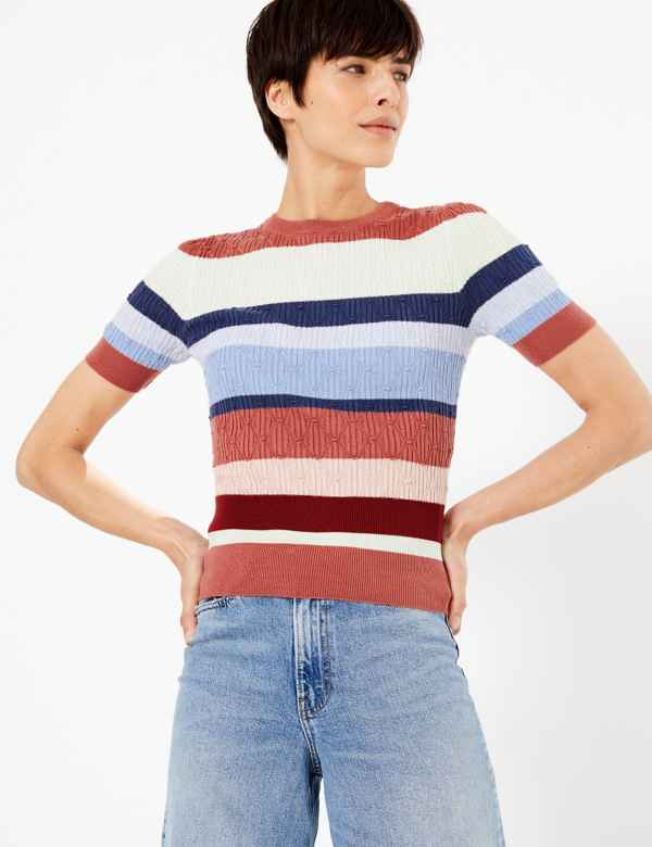 01715b201 Argyle Stitch Striped Knitted Top