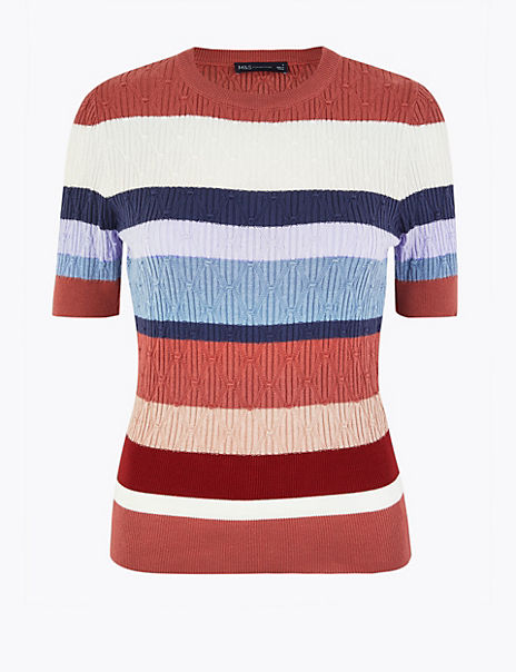 Argyle Stitch Striped Knitted Top