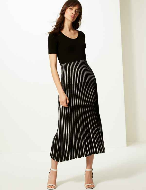 314c8a51e1c40 Ribbed Striped Knitted Dress